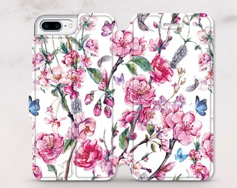 Floral iPhone Wallet Case iPhone 8 Plus Case iPhone X Case iPhone 7 Case iPhone 8 Case iPhone 7 Plus Case Leather Wallet Silicone RD5053