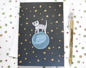 Space Cat Greeting Card Funny Greeting Card Cute Note Anytime Card Silly Cat Lover Astronaut Outer Space Planets Any Occasion Blank Card