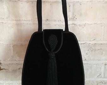 Vintage 1990's Black Velvet Tassel Evening Bag
