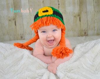 Saint Patricks Day Hat Leprechaun Orange Braids Beanie Hat
