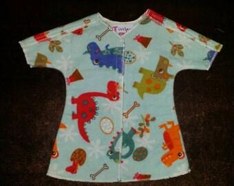 Small - NICU Hospital Gown - Boy -Happy Dinosaurs - Micro Preemie Clothes
