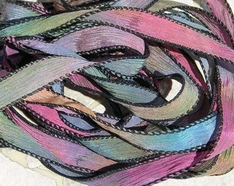 CHASING RAINBOWS, 5 Hand Dyed Silk Ribbons Strings Strands, Great for Silk Wraps and Necklace Ties