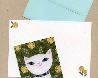 Fancy Cat Blank Note Card Set, cat stationery, thank you notes, teacher gift, stocking stuffer, cat paper products, collage, Kate Endle