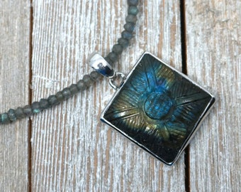 Labradorite necklace, gemstone, sterling silver, Mothers day gift
