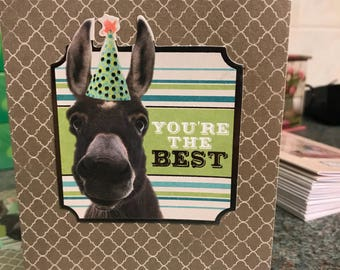 Youre the best greetings card with funny donkey with a party hat on