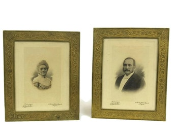 French Antique Platinotype Photo Portraits in Gold Frames. Pair of Antique Man and Woman Portraits. Platinum prints.