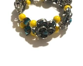 Sunshine Flowers Beaded Cuff Bracelet