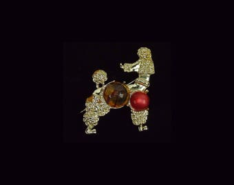 Vintage Jelly Belly Retro Poodle Brooch 2 Inches Tall