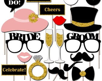 Printable Wedding Photo Booth Props, Wedding Photo Props, Party Props, Instant Download - DP408