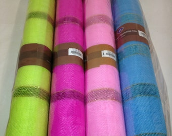 CLEARENCE PRICE Deco Mesh plain with Metallic stripes, the stripes give these beautiful spring and summer colors a lot of Bling.