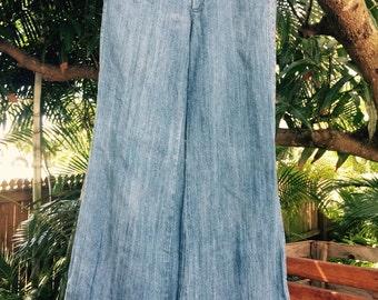Vintage denim hiphuggers low waist 70's bellbottoms