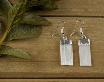 White SELENITE Earrings - Rough Gemstone Jewelry with Selenite Crystal in Silver Earrings - Selenite Jewelry, Handmade Jewelry E0134