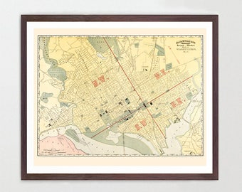 Washington DC Map - Washington DC Art - Washington DC Poster - Washington - Washington Map - Capitol - Potomac - Vintage Washington dc  City