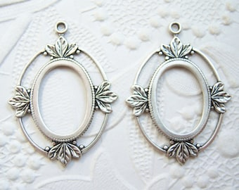 2 - 18x13mm antiqued silver plated cabochon cameo settings -SS202