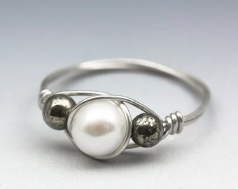 Freshwater Cultured White Pearl & Pyrite Gemstone Sterling Silver Wire Wrapped Bead Ring - Made to Order, Ships Fast!