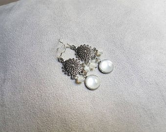 silvery white chic earring