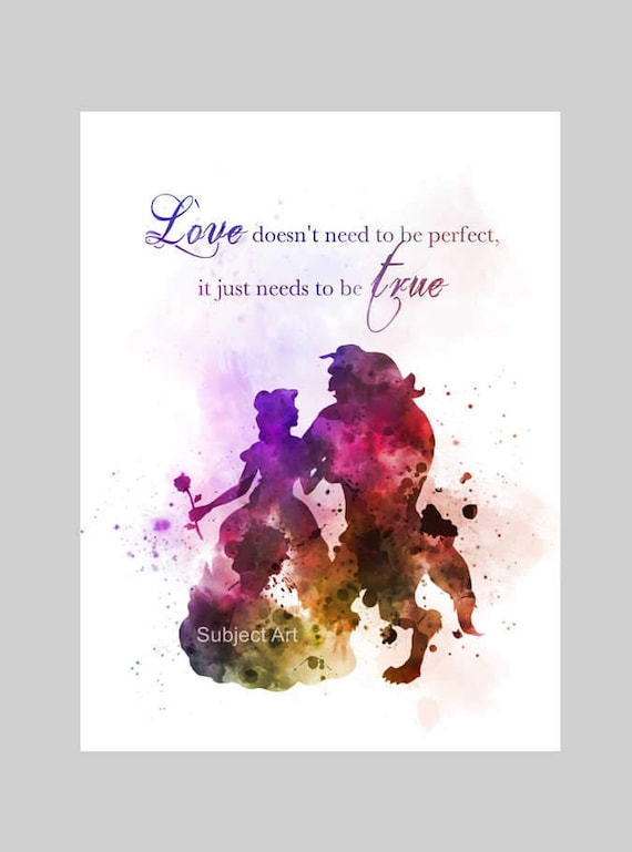 Beauty and the beast quote art print illustration disney voltagebd Image collections
