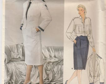 80s Jacket, Blouse & Skirt Pattern Vogue 1345 by Size 12 Uncut