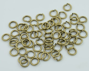 100 pcs. Antique Brass Jump Rings Open Rings Decorations Findings 8 mm. JR N 8 124