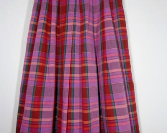 True Vintage 80s Pink Madras Plaid Pleated Lined Maxi Skirt Size 12, Retro Fashion Style