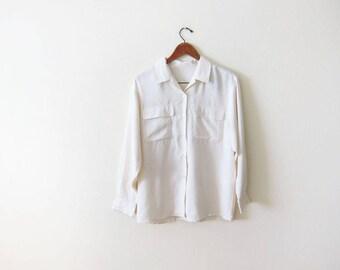 Silk Shirt - Cream Off White Silk Blouse - Flap Pocket Shirt - 90s Silk Button Up - Long Sleeve Silk Shirt - Slouchy Silk Top