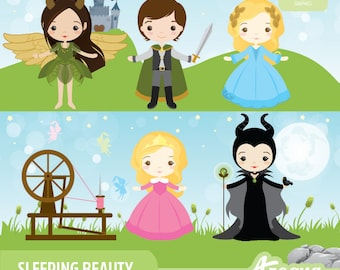 Sleeping Beauty Clipart Set - Instant Download - PNG Files.