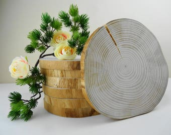 "7""-7.5""  Wood Slices, Wood Slabs, Rustic Wood, Wedding Decor, Woodworking, Rustic Wood, Tree Slices, Tree Trunk Slices, Stump Slices"