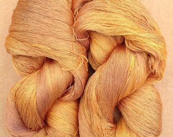Hand Dyed Silk Yarn, Spun Silk Yarn, Weaving, Lace Knitting,  Lacemaking, 60/2 weight, No.07 Yellow Ochre