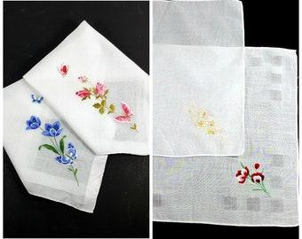 VINTAGE EMBROIDERED HANKIES 4 floral Fine Cotton Handkerchiefs Ladies Hankys