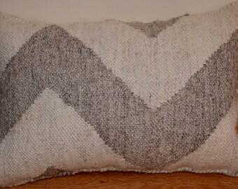 Wool Flat Weave Chevron Lumbar Pillow in Cream & Tan