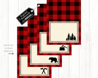 Blank Lumberjack Woodland Table Tents, Plaid Food Tents, Blank Placecards | INSTANT Download 4x6 JPG