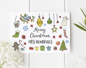Teacher Christmas Card Personalised - Merry Christmas Card For Teachers - Personalise With Any Teacher's Name Or Just a Name of Your Choice