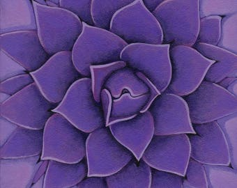 Agave in Violet - Ultra violet, acrylic painting on canvas