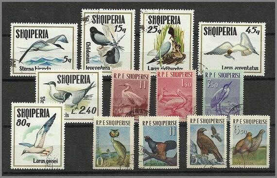 Albania vintage 1960s used postage stamps three complete