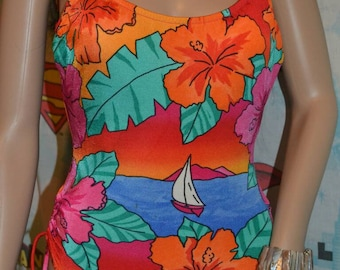 Vintage 80s Harbour Casuals Ltd. Sail Boat Tropical Ocean Sunset Floral One Piece Bathing Suit Swimsuit Cinched Drawstring Legs