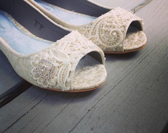 Wedding Shoes - French Knotwork Lace Peep Toe Flats - Pearls and Crystals - Golden Brocade