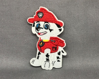 Firehouse dog iron on patch embroidered appliqué