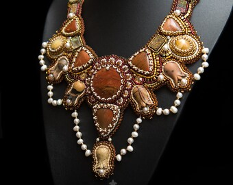 Necklace beading and gemstones Jasper, simbircite, spectropyrite, Pearl. Beadwork necklace