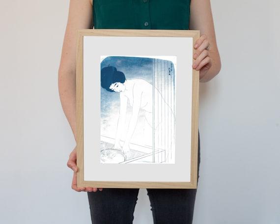 Japanese Ukiyo-e Woman Bathing, Cyanotype Print on Watercolor Paper, A4 size (Limited Edition)