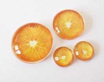 "Set 4 ""FRUITS - Orange"" (craftsmanship) theme cabochons 12mm / 20mm / 25mm"
