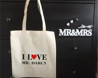 I Love My Darcy  Tote Bag- Jane Austen Inspired Book Bag, Birthday, Mothers Day Gift