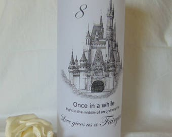 Fairy-tale Wedding Candle Luminary, Luminaries 20 personalised wedding table number luminary, table numbers, wedding table, Centerpieces