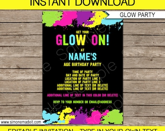 Glow party etsy glow party invitation template neon glow theme birthday party printable invite instant download stopboris Choice Image