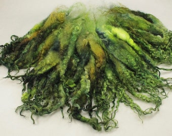 Teeswater separated  locks, hand painted fiber fleece for spinning and felting, 3.3 oz