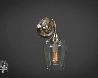 Wall Sconce Light Fixture |  Edison Bulb | Brushed Nickel | Oil Rubbed Bronze | Edison light | Small Teardrop Shade