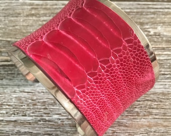Exotic Silver-lined Cuff Bracelet for Women -- Genuine Raspberry Pink Ostrich