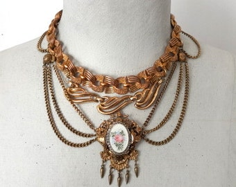 Statement Necklace, Victorian Necklace, Vintage Assemblage Necklace, Bib Necklace, Repurposed Vintage Necklace