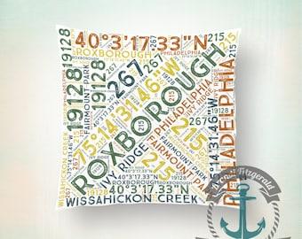 Throw Pillow | Roxborough Philadelphia Typography | Philly   | Size and Price via Dropdown