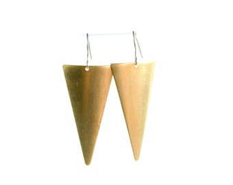 Triangle Earrings, Triangle Jewelry, Dangle Earrings, Triangle Dangle Earrings, Geometric Jewelry, Geometric Earrings, Gold Earrings