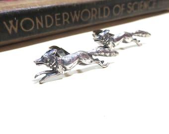 Antique Silver Brass Running Fox Cuff Links - Cufflinks - Wildlife - Foxes Animals